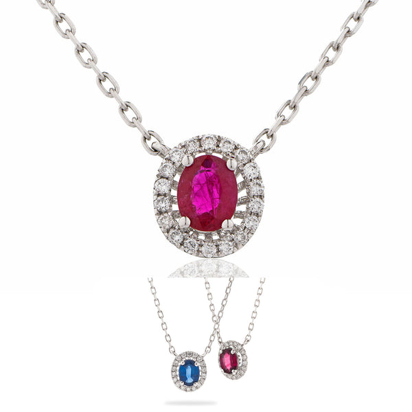 18ct White Gold Diamond Halo Pendant & Chain (Available With Sapphire or Ruby)