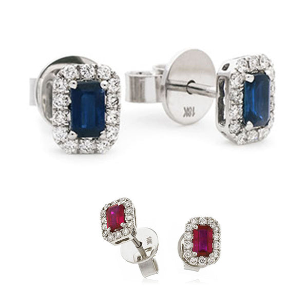 18ct White Gold Diamond Cluster Earring Available With Sapphire Or Ruby