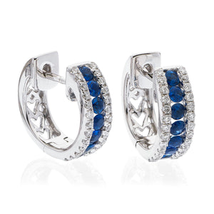 18ct White Gold Sapphire & Diamond Huggie Earrings