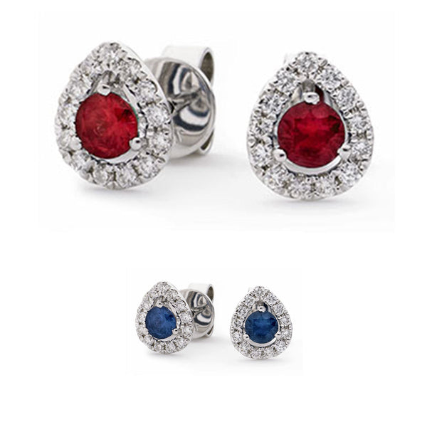 18ct White Gold Pear Shape Diamond Halo Earrings, Available With Sapphire Or Ruby