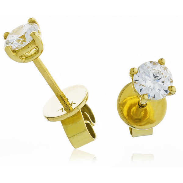 18ct Gold Brilliant Cut Diamond Stud Earrings (0.20ct - 1.00ct) Available In White Or Yellow Gold