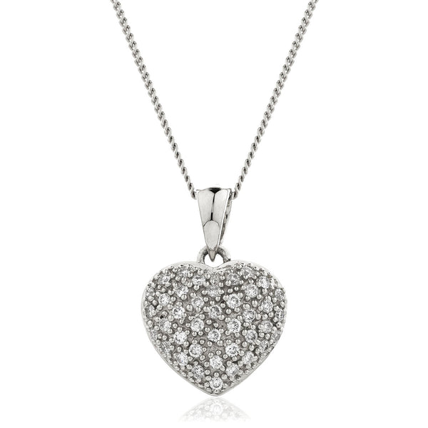 18ct Gold Diamond Set Heart Pendant & Chain (0.20ct) Available In White Gold & Rose Gold