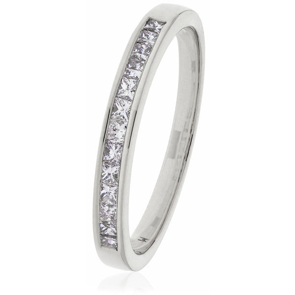 18ct Gold Princess Cut Diamond Half Eternity Ring (0.75ct) Available In White Gold & Yellow Gold