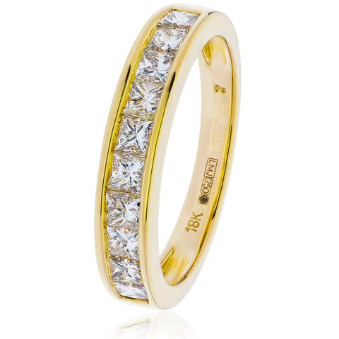 18ct Gold Princess Cut Diamond Half Eternity Ring (1.00ct) Available In White Gold & Yellow Gold
