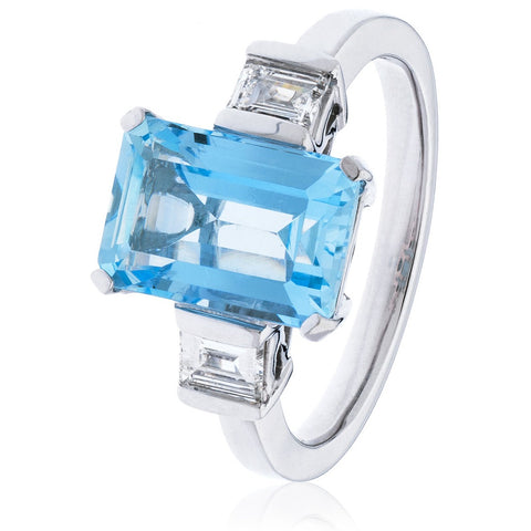 18ct White Gold Aquamarine Ring with Baguette Diamonds