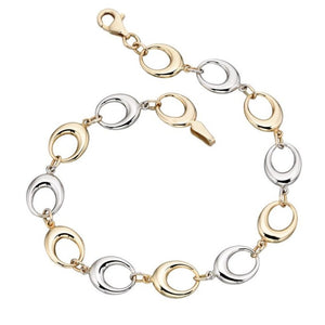 9ct Yellow and White Gold Oval Link Bracelet