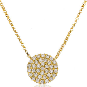 18ct Yellow Gold Diamond Set Disc Necklace