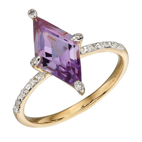 Kite shaped Ring with Amethyst and Diamonds in 9ct Yellow Gold