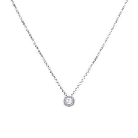 Silver Cushion Cut Double Halo Zirconia Pendant and Chain