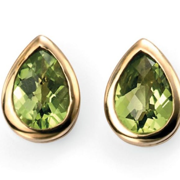 9ct Yellow Gold Peridot Teardrop Stud Earrings