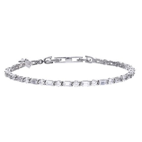 Silver Bracelet set with Baguette and Brilliant Cut Stones