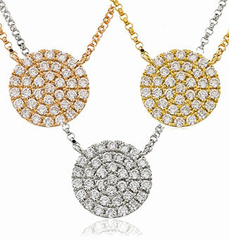 18ct Gold Diamond Encrusted Disc Pendant & Chain (0.40ct) Available In White Gold Yellow Gold & Rose Gold