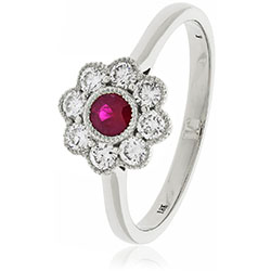 18ct Gold Diamond Flower Ring. Available With Sapphire, Ruby Or Emerald In White Or Yellow Gold