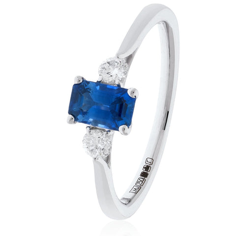 18ct White Gold Blue Sapphire and Diamond Ring