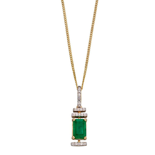 9ct Yellow Gold Emerald And Diamond Deco Pendant