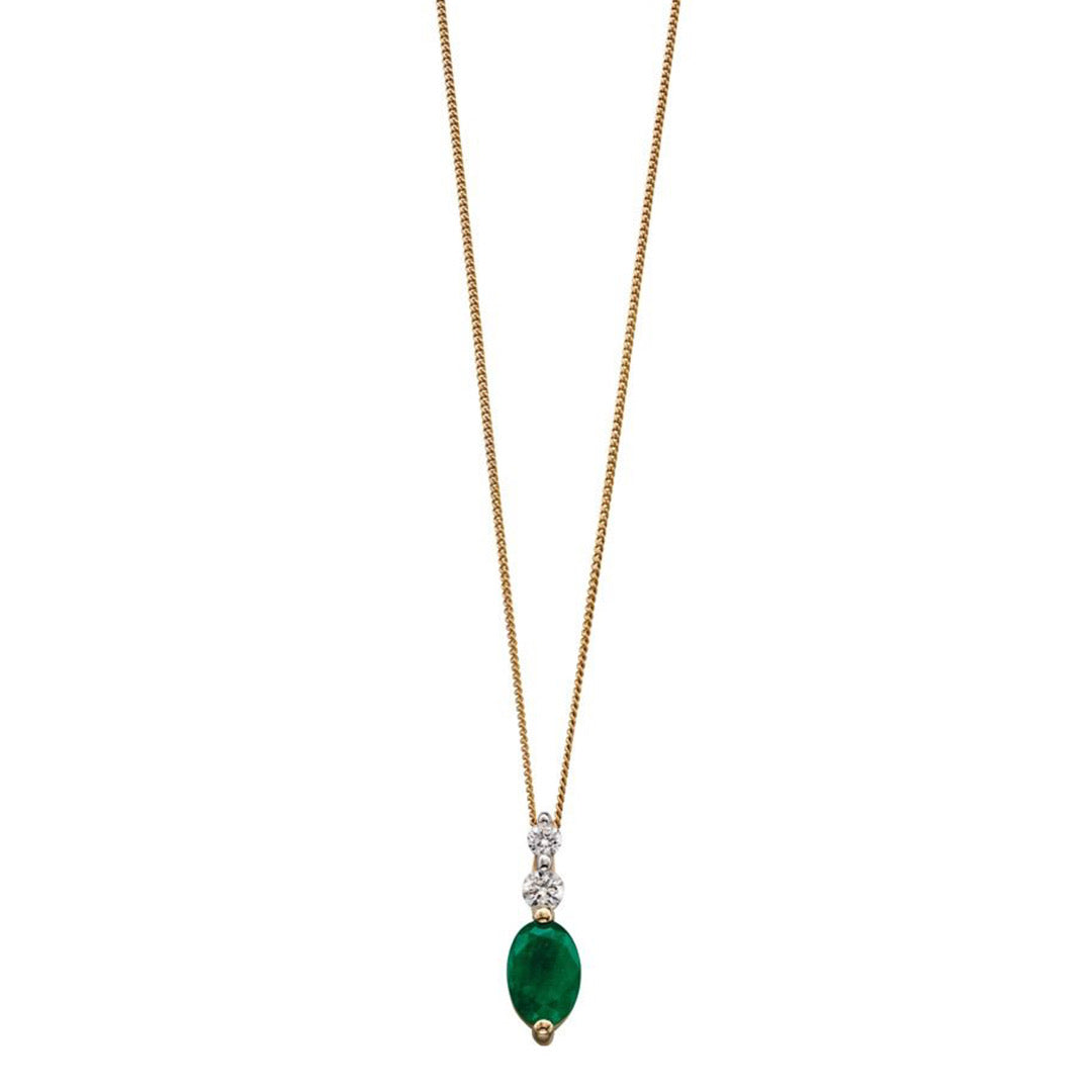 9ct Yellow Gold Emerald & Diamond Pendant and chain.