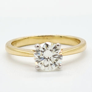 18ct Yellow Gold Brilliant Cut Solitaire Diamond Ring (1.03)