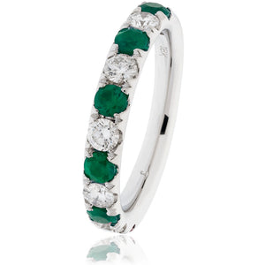 18ct White Gold Emerald and Diamond Half Eternity Ring