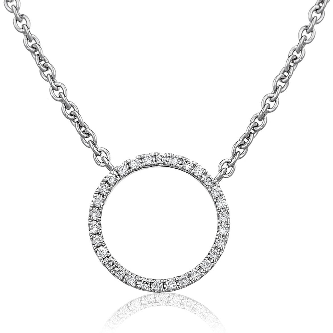 18ct White Gold Diamond Circle of Life Pendant and Chain