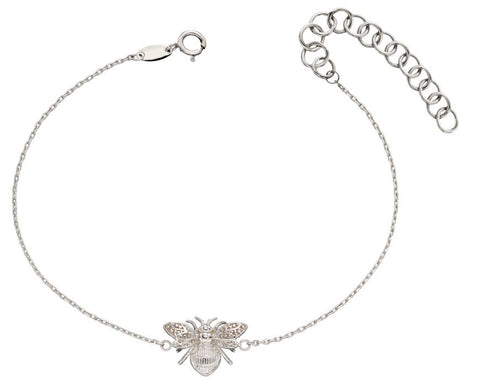 9ct White Gold Bee Bracelet