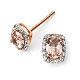 Rose Gold Morganite And Diamond Earring's