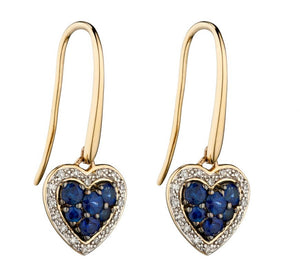 9ct Yellow Gold Sapphire And Diamond Heart Earrings