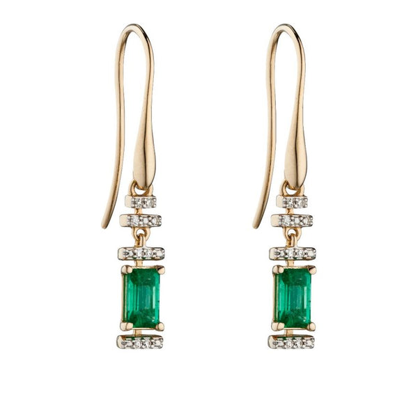 9ct Yellow Gold Emerald And Diamond Deco Earrings