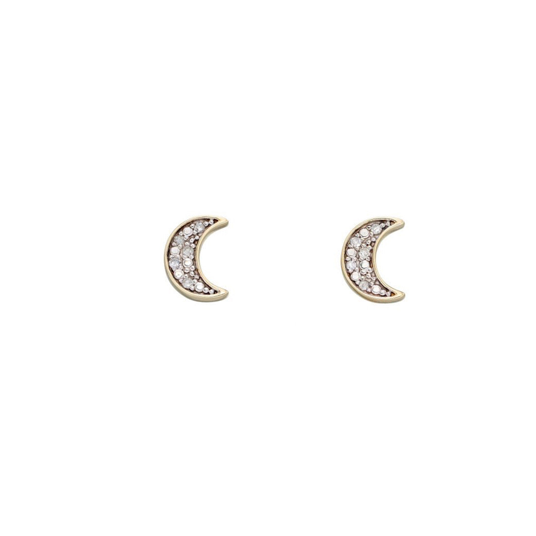 9ct Yellow Gold Moon Diamond Stud Earrings