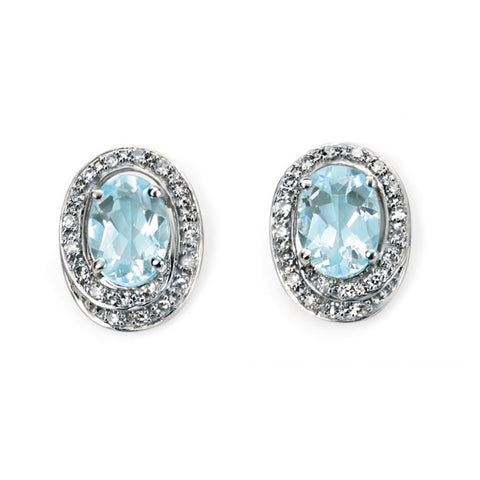 9ct White Gold Aquamarine and Diamond Oval Earrings