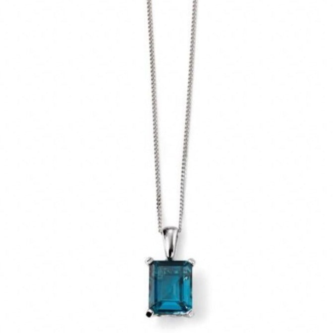 9ct White Gold London Blue Topaz Pendant & Chain