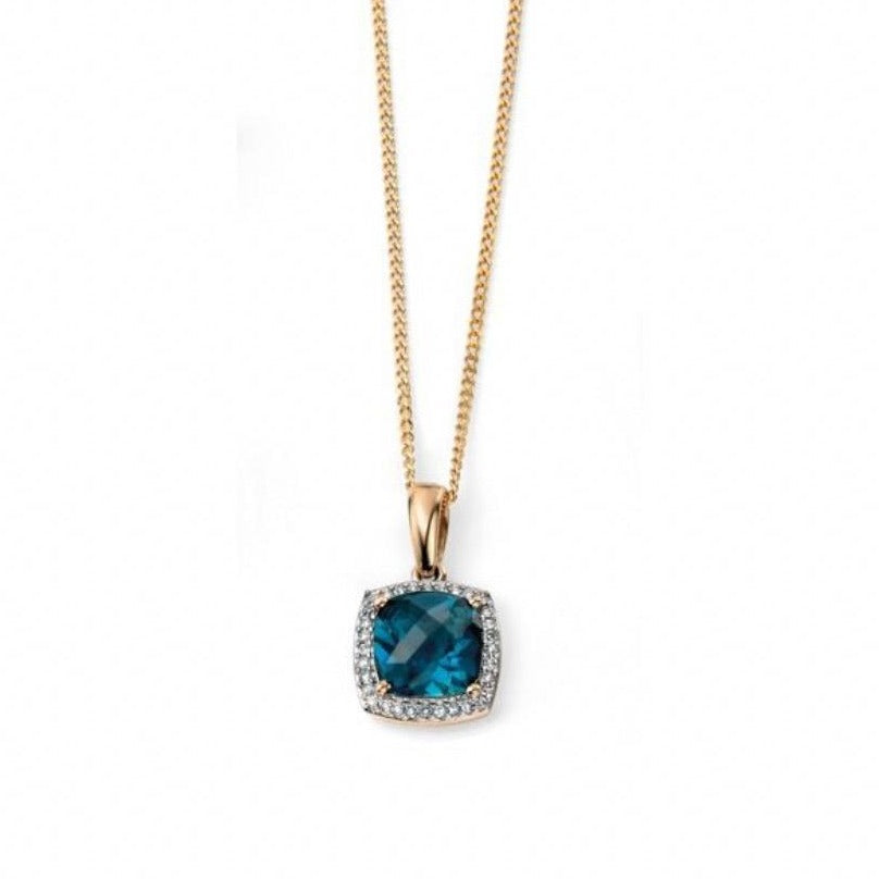 9ct Yellow Gold London Blue Topaz & Diamond Pendant and Chain