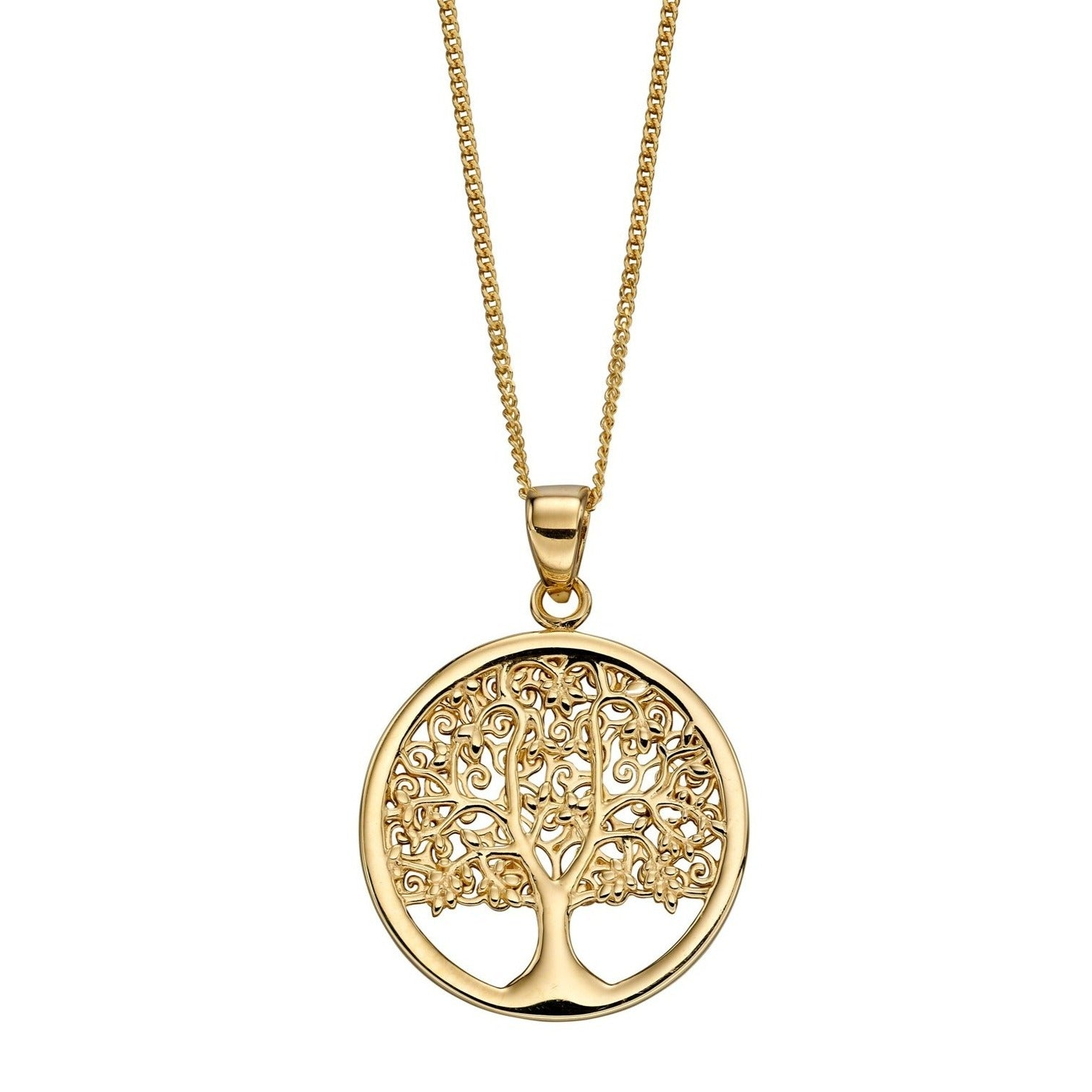 9ct Yellow Gold Tree of Life Pendant With Chain