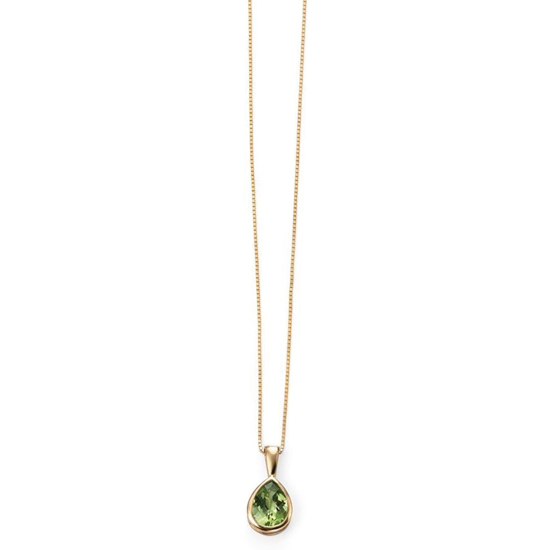 9ct Yellow Gold Peridot Teardrop Pendant and Chain