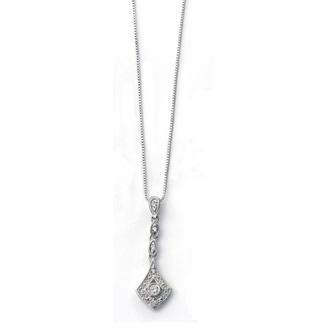 9ct White Gold Diamond Vintage Drop Pendant and Chain