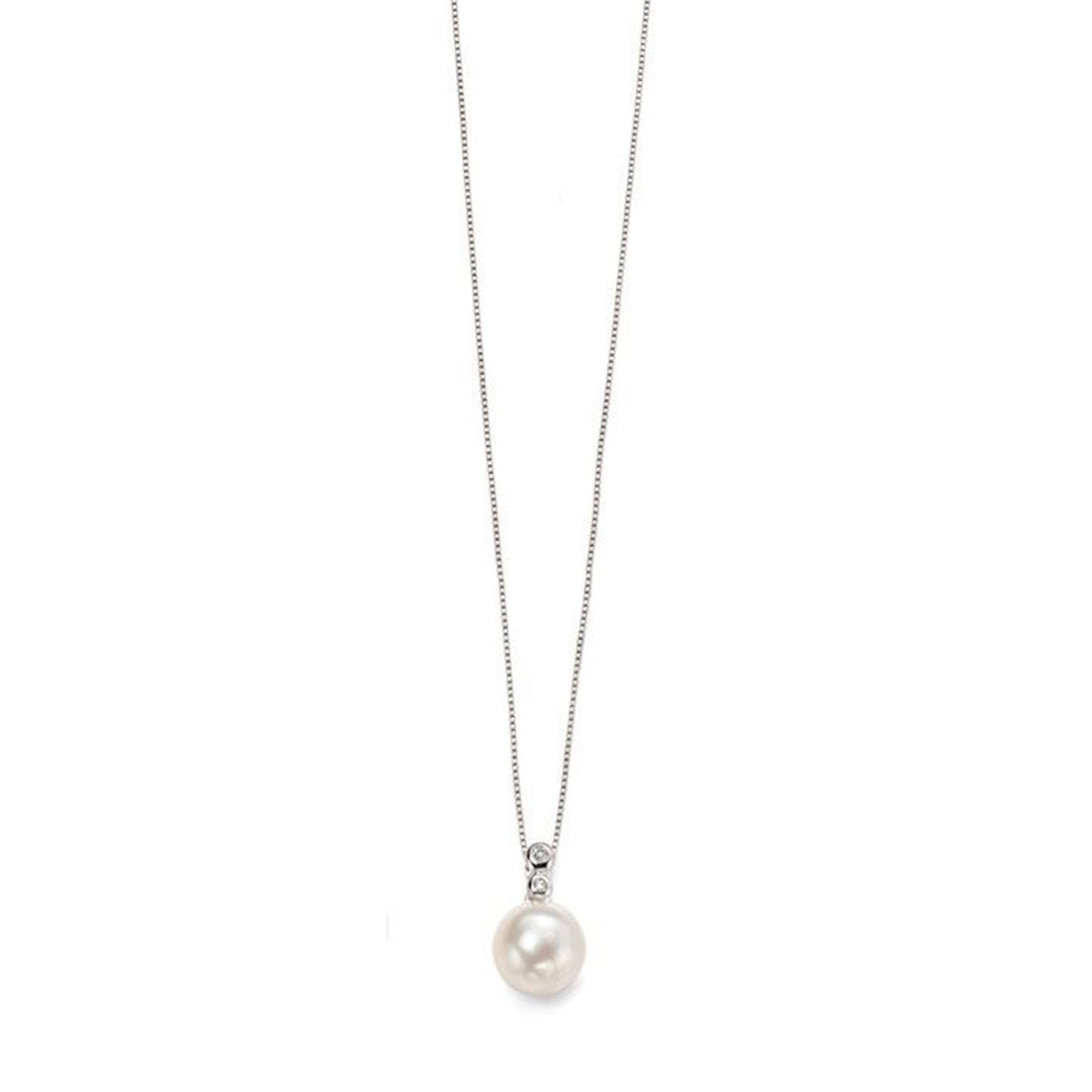 9ct White Gold Diamond & Freshwater Pearl Pendant & Chain