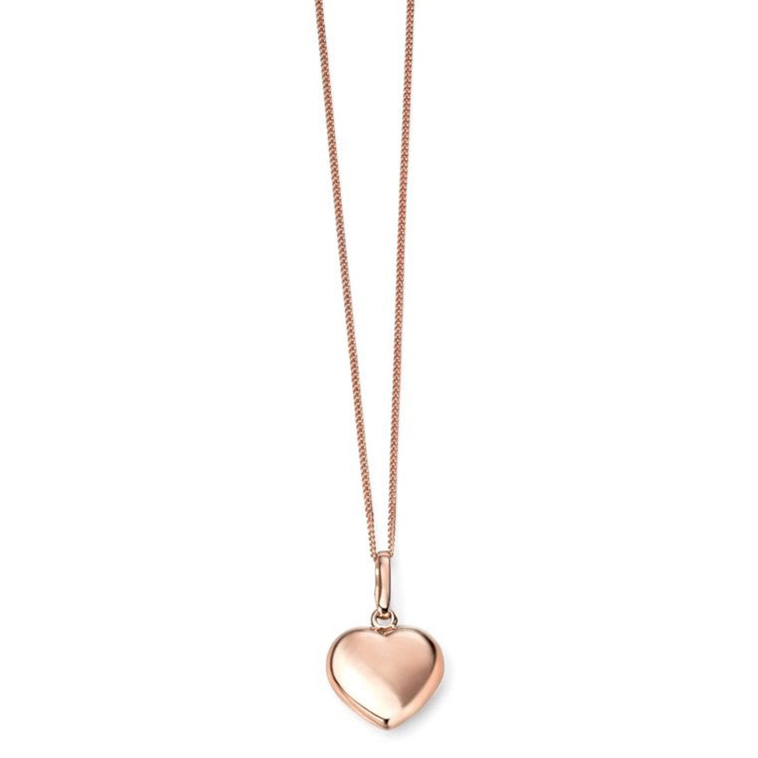 9ct Rose Gold Heart Pendant & Chain