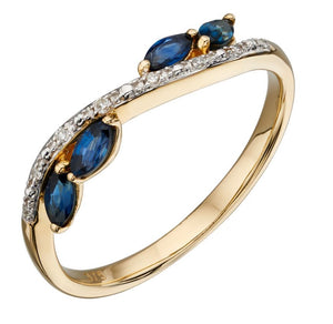 9ct Yellow Gold Sapphire and Diamond Marquise Ring