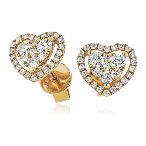 18ct Gold Heart Shape Diamond Halo Earrings (0.65ct) Available In White Gold & Yellow Gold