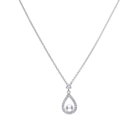 Silver teardrop shape pendant silver with white shell pearl and cubic zirconia