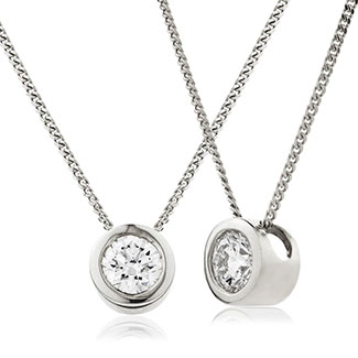 18ct Gold Brilliant Cut Diamond Rub Over Set Pendant & Chain (0.25ct - 0.75ct) Available In White Gold & Yellow Gold
