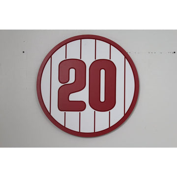 Number 20 Red Pinstripe Sign