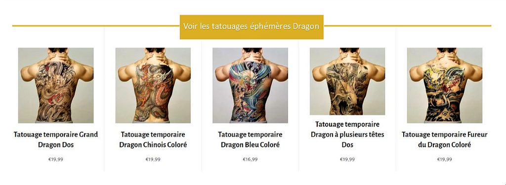 tatouage ephemere dragon