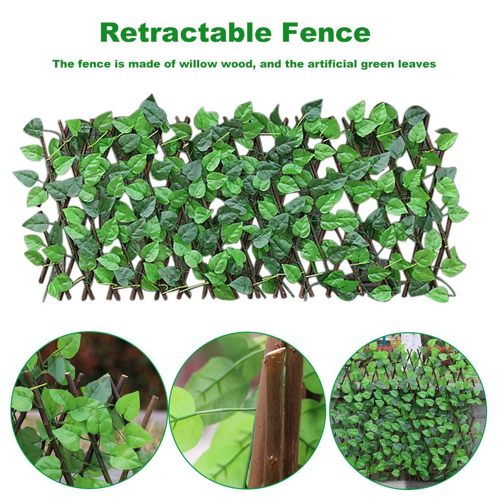 Luxury Privacy Fence - Faux Green Leaf Extending Fence