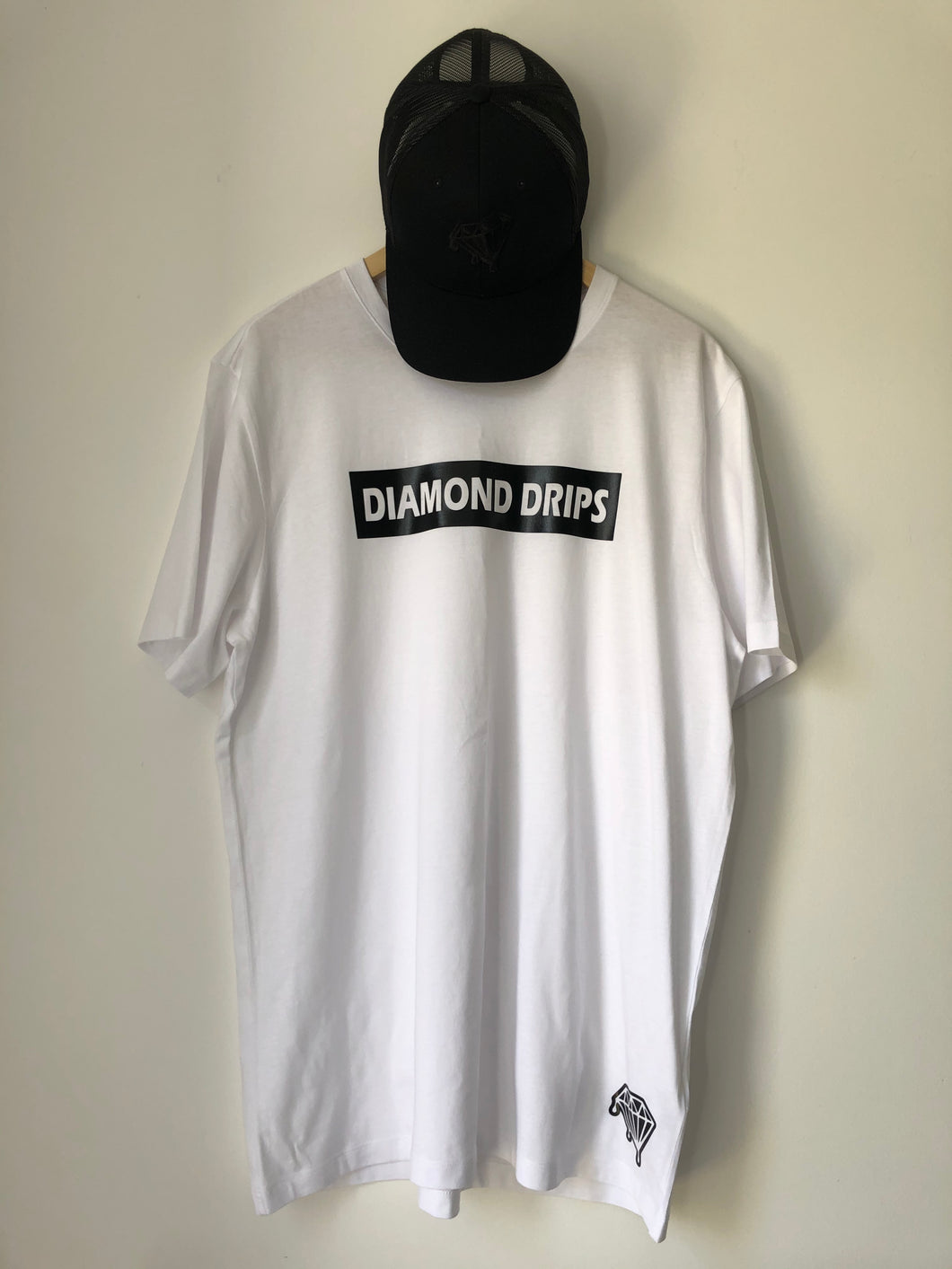 Official Diamond Drips white and black letterbox Tee
