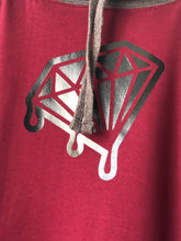 Load image into Gallery viewer, Official Diamond Drips burgundy and grey diamond hoodie
