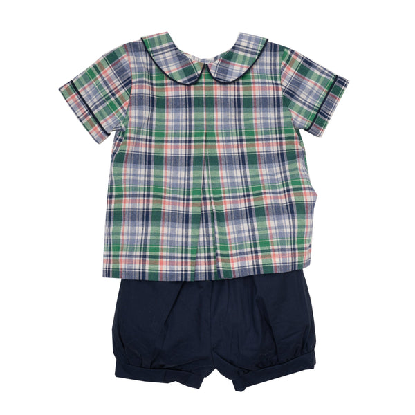 Trea Navy Plaid Short Set (18m)