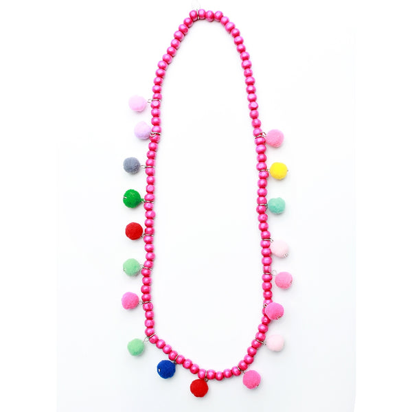 Hot Pink Wooden Pom Necklace