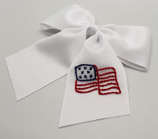 American Flag Hand- Embroidered Bow