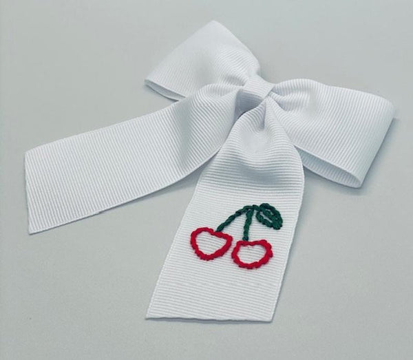 Cherry Hand- Embroidered Bow