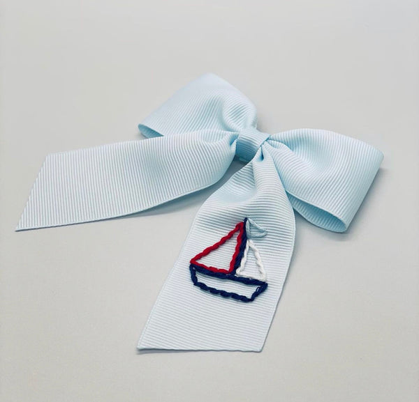 Patriotic Sailboat Hand- Embroidered Bow